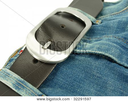 leather belt and jeans