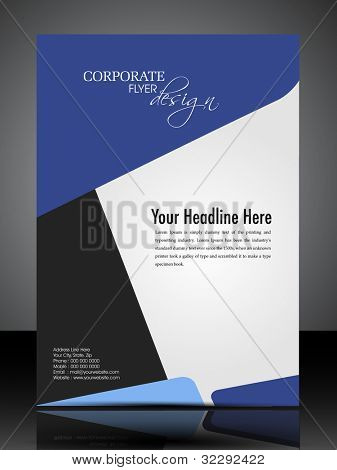 Professional business flyer template or corporate banner design in dark and bright colors with space for your text, can be use for publishing, print and presentation. Vector illustration in EPS 10.
