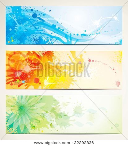 Set of watercolor style header banners. (EPS 10)