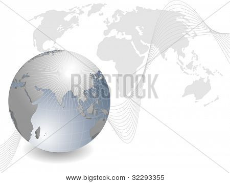 Professional Corporate or Business template for financial presentations showing globe in silver metallic color with red wave and copy space. EPS 10. Vector illustration.