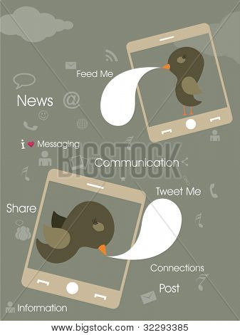 Social networking infography concept, cute birds tweeting with mobile networks with networking icons.  EPS 10.