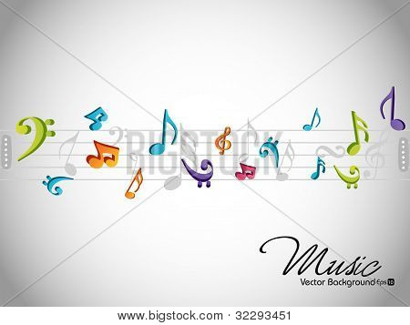 Dancing musical notes background or template over grey background, can be use as flyer, poster or banner for music party and other events. EPS 10, vector illustration.
