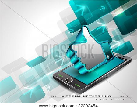 Abstract blue background with arrows, mobile and 3D thumb up icon or like button having shiny effect on white background and copy space. EPS 10, vector illustration.