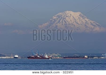 Shipping And Mountain