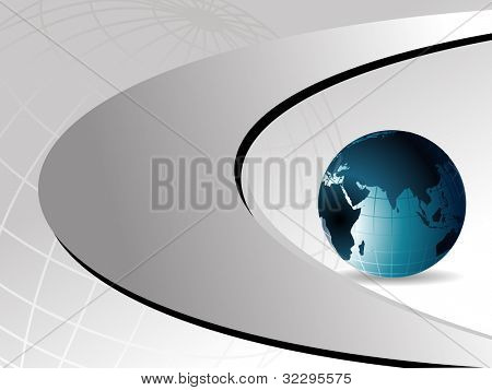 Professional Corporate or Business template for financial presentations showing blue globe  on silver metallic background. EPS 10.