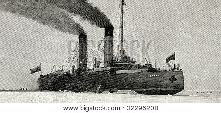 "The icebreaker ""Ermak"". Engraving by  Rashevsky. Published in magazine ""Niva"", publishing house A.F. Marx, St. Petersburg, Russia, 1899"