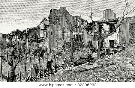 "The explosion of gunpowder warehouse near Toulon, France. Engraving by  Shliper. Published in magazine ""Niva"", publishing house A.F. Marx, St. Petersburg, Russia, 1899"