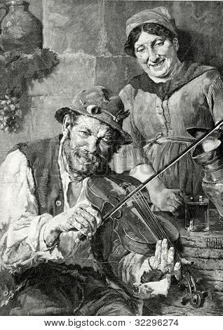 Village violinist. Engraving by Boud  from picture by  Grizon. Published in magazine