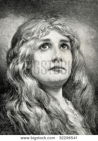 Vera. Engraving by Felmer from picture by Gabriel Max. Published in magazine