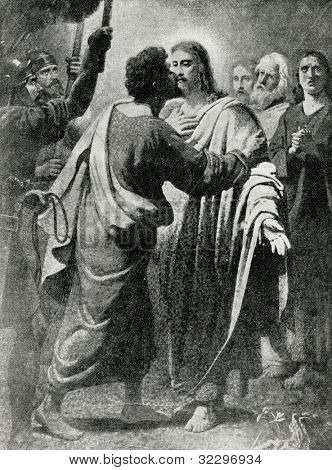 Kiss of Judas. Mosaic in St. Isaac's Cathedral in St. Petersburg. picture by Carl Bryullov. Published in magazine