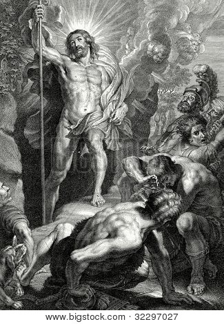 Resurrection of Christ. Engraving by van Bolsvert from picture by Rubens. Published in magazine