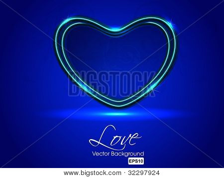 Sparkling heart shape on blue background, can be use as flyer, banner, gift or greeting card. EPS 10. Vector illustration.