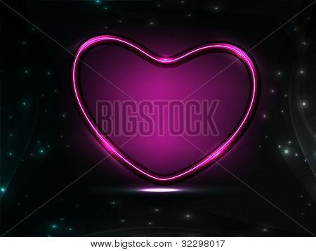 Glossy heart shape in purple color on shiny balck background, can be use as banner, flyer or poster. EPS 10. Vector illustration.