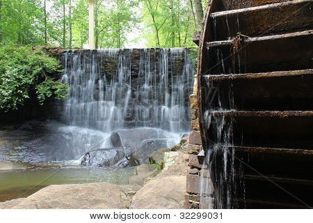Old Mill Wheel and Waterfall