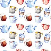 Seamless Pattern With Hand Drawn Sketchy Coffee Cups, Teapots, Cappuccino And Hot Chocolate. Coffee  poster