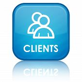 image of clientele  - Clients icon with text on blue glossy square button - JPG