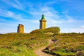 Footpath Leading To The Lighthouse From Cap De Frehel On Armor Coastline In Brittany In North Of Fra poster