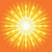 stock photo of sun rays  - Abstract Hot Summer Light Burst Background Vector - JPG