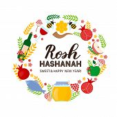 Rosh Hashanah Jewish New Year Lettering With Traditional Symbols Jar Of Honey, Pomegranate, Apple, E poster