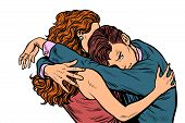 Man And Woman Embrace Love. Wife Comforting Husband. Pop Art Retro Vector Illustration Drawing poster