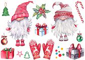 Christmas Set Of Scandinavian Nissers, Elves, Red Mittens, Gift Boxes, Holly Berries, Balls, Candy C poster