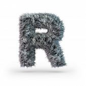 Uppercase Fluffy And Furry Gray Font. Letter R. 3d Rendering poster