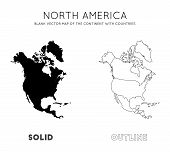 North America Map. Blank Vector Map Of The Continent With Countries. Borders Of North America For Yo poster