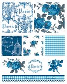 stock photo of ami  - Pretty Parisian Themed Floral Vector Seamless Patterns and icons - JPG