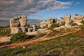 Forcalquier, Provence, France: Rochers Des Mourres, Landscape At Dawn Of The Strange Geological Form poster