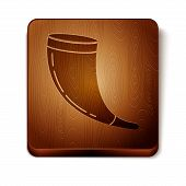 Brown Traditional Ram Horn, Shofar Icon Isolated On White Background. Rosh Hashanah, Jewish New Year poster