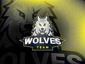 Professional Wolf Logo For A Sport Team. Wolves Logo Mascot Sport Illustration. Modern Vector Illust poster