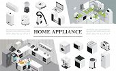 Isometric Home Appliances Composition With Father And Son Cooking Pizza On Kitchen And Different Mod poster