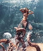 3d Fantasy Horror Of Mermaid Fight With Giant Octopus In Mythical Sea,fantasy Fairy Tale Of A Sea Ny poster