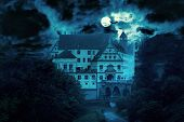 Haunted House At Night. Old Spooky Castle In Full Moon. Creepy View Of Dark Mystery Mansion With Bat poster