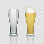 Beer Glass Cups. Empty Transparent Mug And Full Mug, Realistic 3d Beer Pint. Vector Tall Drink Glass poster