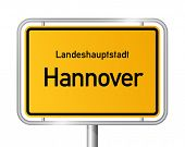 City limit sign HANNOVER against white background - capital of the federal state Lower Saxony - Nied