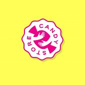 Candy Store Logo. Handmade Sweets Workshop Or Store. Candy And Hands. Sweets Store. poster