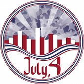 Round Emblem With Calligraphy Fourth Of July. No Fonts Were Used.