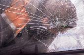 Car Knocks A Man. Broken Car Windshield With A Man. Crash. poster