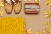 Brown Leather Women Bag, Orange Knitted Sweater, Warm Boots, Golden Autumn Leaf On Brown Background poster