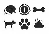 Dog Paw And Feces Signs. Chat, Info Sign. Pets Icons. Clean Up After Pets. Pets Food. Classic Style  poster