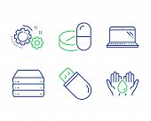 Servers, Usb Stick And Medical Drugs Line Icons Set. Gears, Laptop And Safe Water Signs. Big Data, M poster