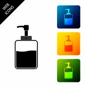 Hand Sanitizer Bottle Icon Isolated On White Background. Disinfection Concept. Washing Gel. Alcohol  poster
