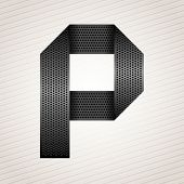 stock photo of letter p  - Font from folded metallic ribbon  - JPG