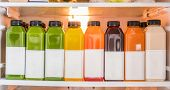 Juice bottles for detox cleanse juicing diet- Healthy food online delivery at home in fridge. Select poster