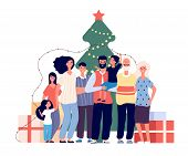 Family At Christmas Tree. Smiling Adults And Kids Celebrate Christmas At Home. Xmas And Winter Holid poster