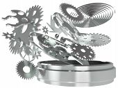 foto of chronometer  - The mechanism of hours of a chronometer from gears and springs in 3d - JPG