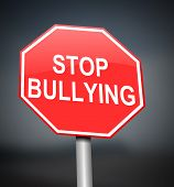 image of stop bully  - Illustration depicting red and white warning road sign with a bullying concept - JPG