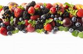 Mix Berries And Fruits On White Background. Ripe Blackberries, Strawberries, Bleberries, Blackcurran poster