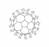Cartoon Happy Little People Standing Around The Ball. Doodle Cute Miniature Scene Of Workers About S poster
